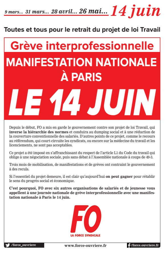 manifester paris le 14 juin comment s 39 y rendre union departementale fo nord. Black Bedroom Furniture Sets. Home Design Ideas