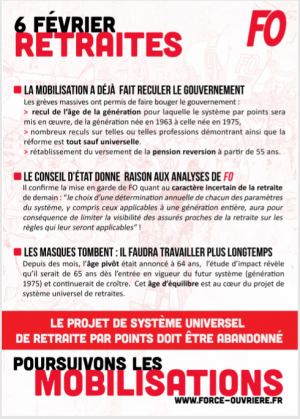 RETRAITES – Manifestations du 6 février 2020